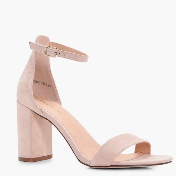 d0f05c176d509 Boohoo Shoes | Faux Suede Ankle Strap Block Heels In Nude Blush ...